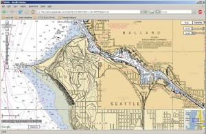 NOAA chart of the Ship Canal in Ballard, Seattle, WA
