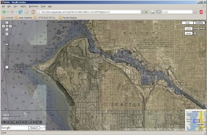 Google Maps overlay of NOAA chart showing Ballard Ship Canal, Seattle, WA
